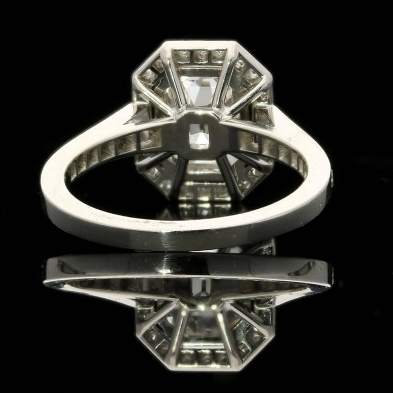 Hancocks 1.82 Carat Emerald-Cut Diamond Ring with a Diamond-Set Halo In New Condition For Sale In London, GB