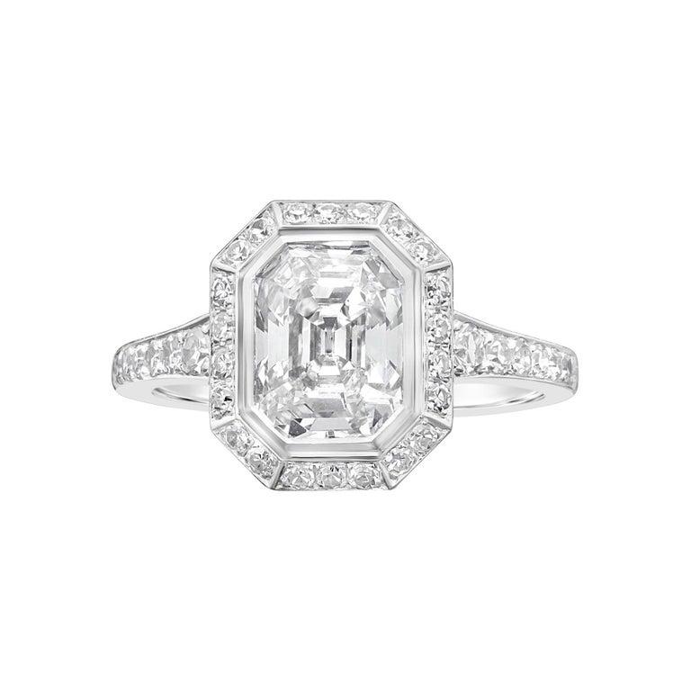 Hancocks 1.82 Carat Emerald-Cut Diamond Ring with a Diamond-Set Halo For Sale