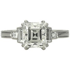 Hancocks 1.88 Carat Carré-Cut Diamond and Platinum Ring
