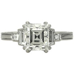 1.88 Carat G VS2 Vintage Carré-Cut Diamond and Platinum Ring by Hancocks