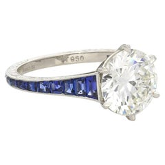 Hancocks 2.04ct Carat Old-Cut Diamond Ring with Calibre-Cut Sapphire Shoulders