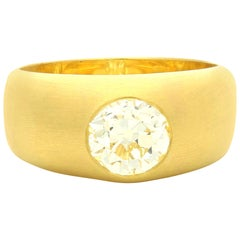 Hancocks 22Ct Satin-Finish Yellow Gold Gypsy-Set Band Ring with a 1.65Ct Diamond