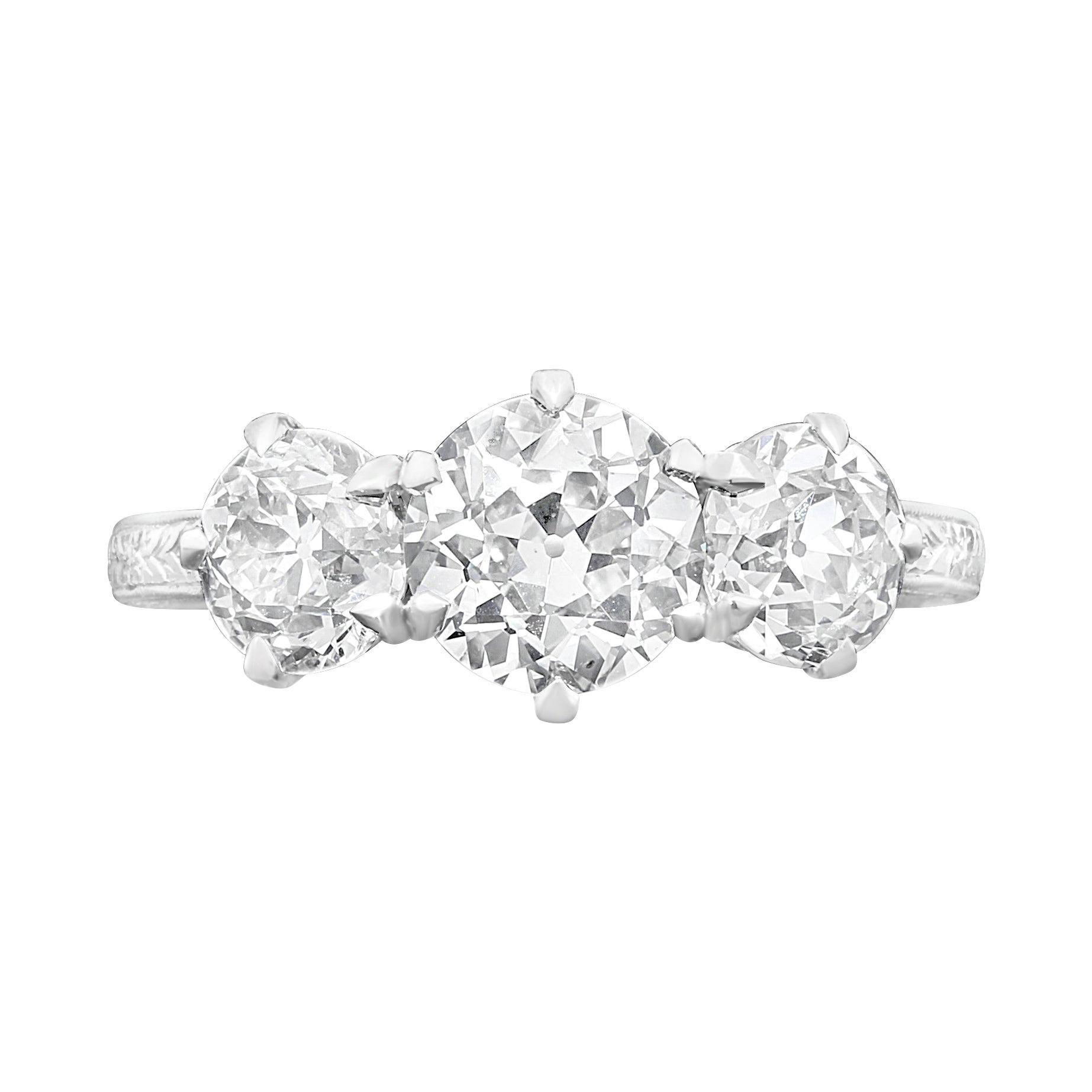 Hancocks 2.62 Carat Diamond Three-Stone Ring in Finely Hand Engraved Platinum