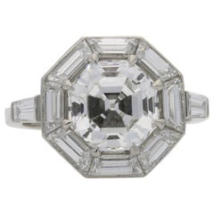 Hancocks 3.02Ct Octagonal Step-Cut Diamond Ring with Geometric Diamond Surround