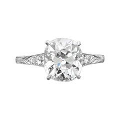 Hancocks 3.04 Carat E VS2 Old Mine Cushion Diamond Platinum Ring