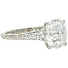 Hancocks 3.04 Carat Old Mine Cushion Diamond Platinum Ring