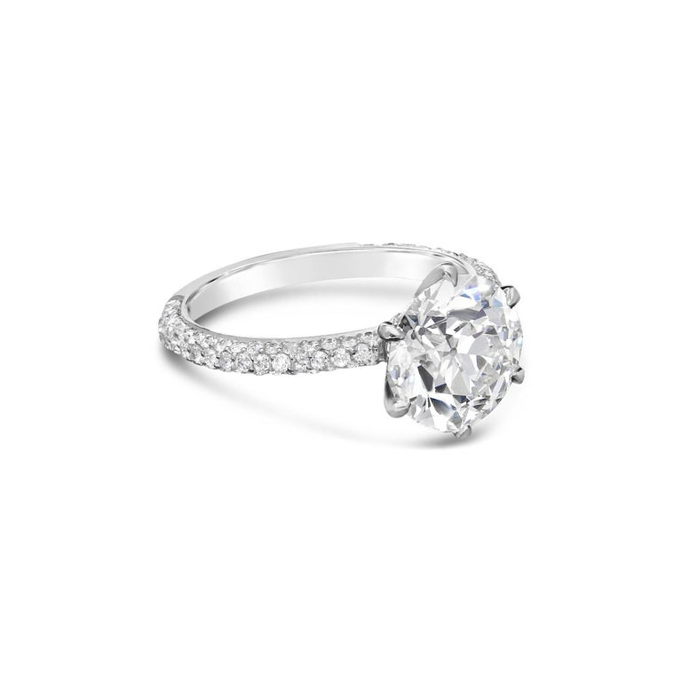 3.08ct H VS2 Old European brilliant cut diamond with GIA certificate  Platinum with London assay marks UK finger size L 1/2, US size 6.25, can be adjusted to your own finger size 4.5 grams  A stunning diamond solitaire ring by Hancocks centred with