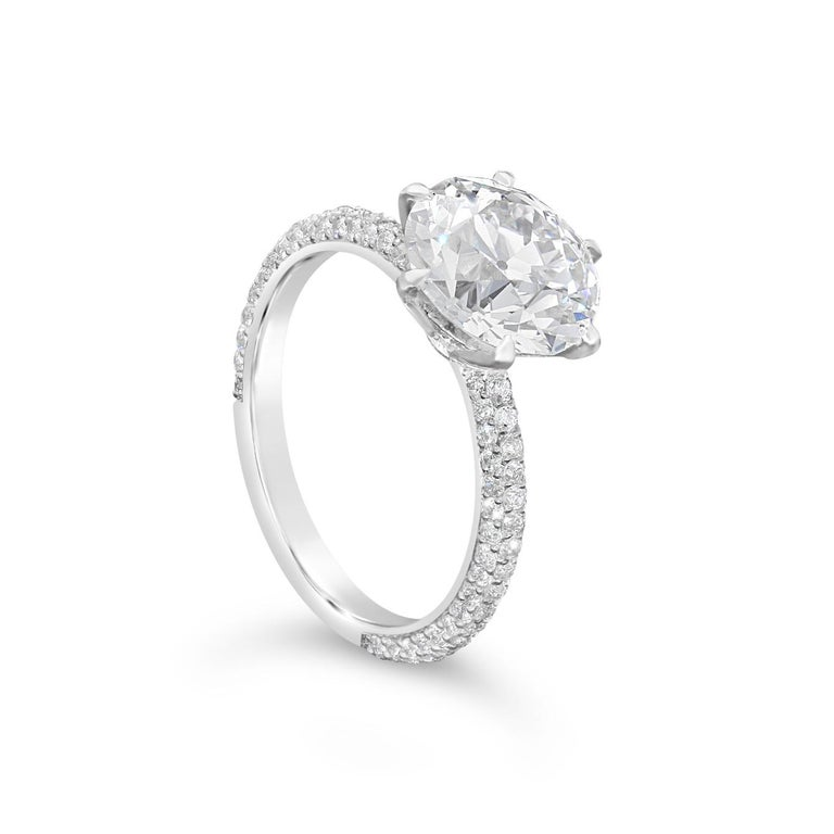Contemporary Hancocks 3.08 Carat H VS2 Old European Brilliant Pavé Set Diamond Solitaire Ring For Sale