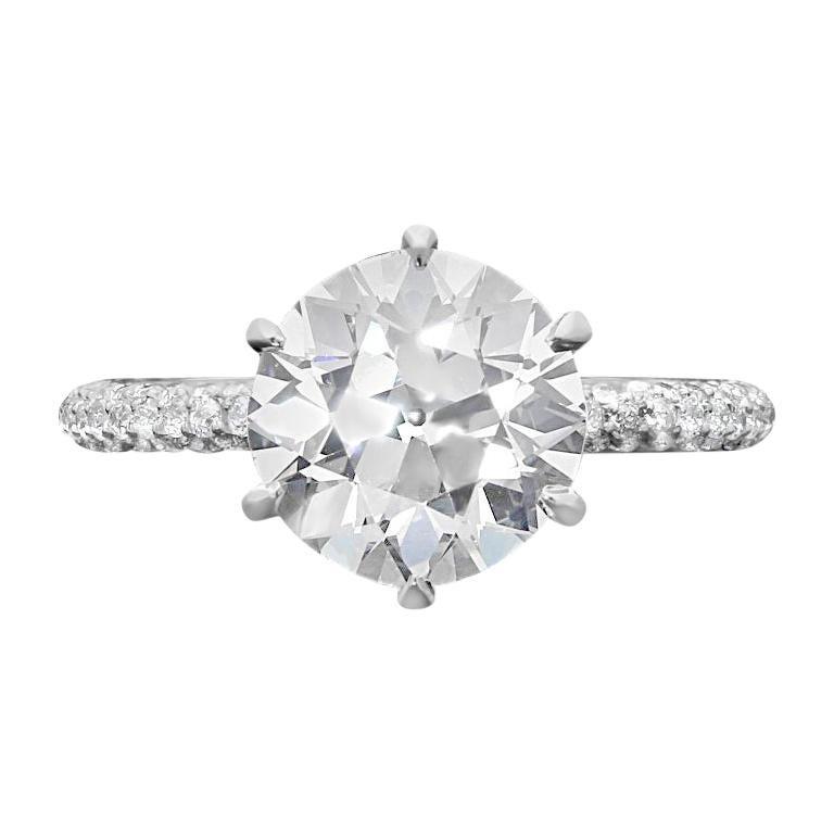 Hancocks 3.08 Carat H VS2 Old European Brilliant Pavé Set Diamond Solitaire Ring For Sale