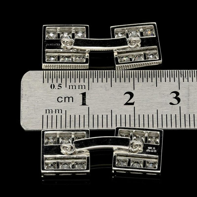 Hancocks 3.10 Carat French-Cut Diamond and Platinum Double Ended Cufflinks In New Condition For Sale In London, GB