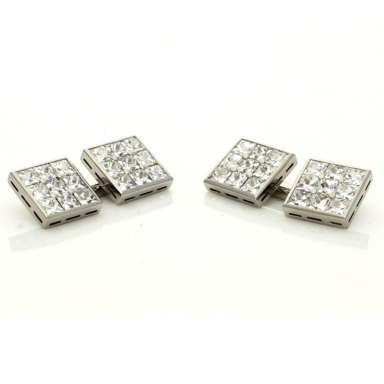 Hancocks 3.10 Carat French-Cut Diamond and Platinum Double Ended Cufflinks For Sale 1