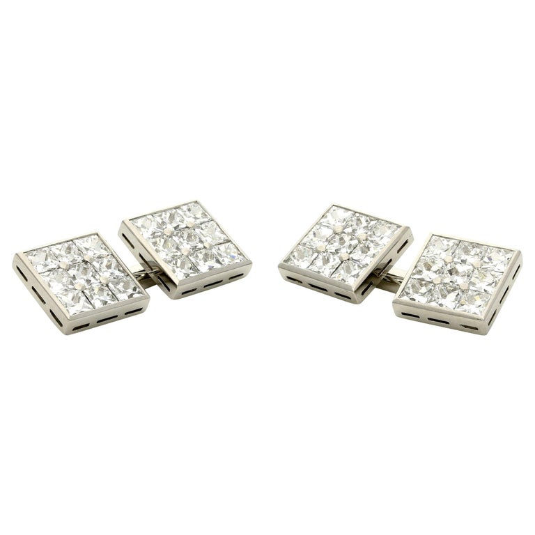 Hancocks 3.10 Carat French-Cut Diamond and Platinum Double Ended Cufflinks For Sale