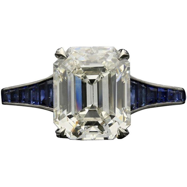 Hancocks 3.20 Carat Emerald-Cut Diamond Ring with Calibre-Cut Sapphire Band For Sale