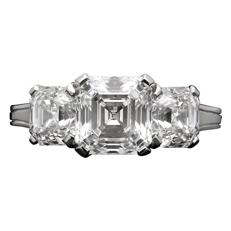 Hancocks 3 80 Carat Total D E Vvs Vs Vintage Asscher Cut Diamond Platinum Ring For Sale At 1stdibs