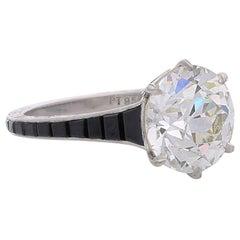 Hancocks 4.14 Carat Old European Cut Diamond Ring with Calibre Onyx Shoulders