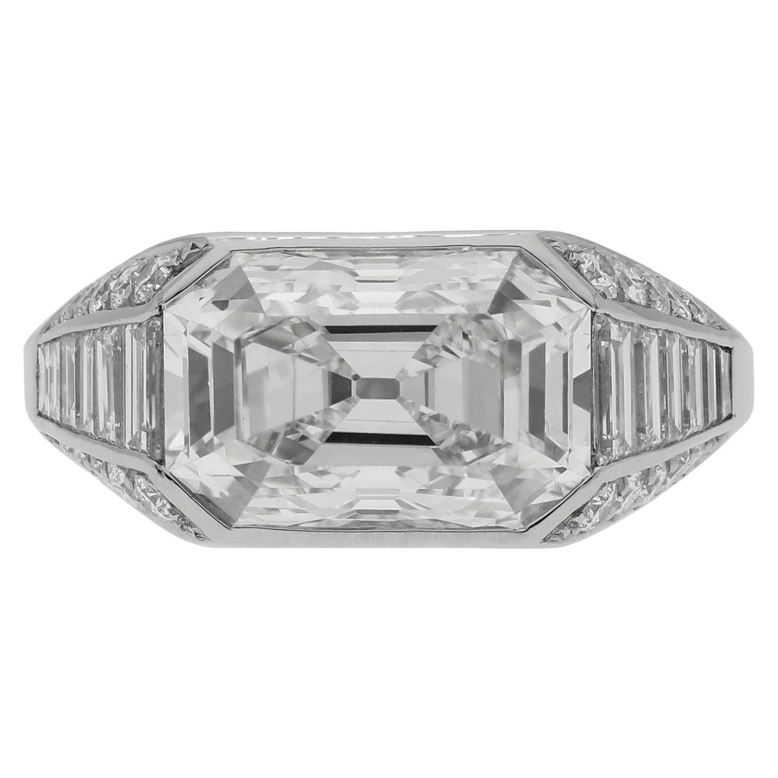 Hancocks 4.25 Carat G VS1 Old Mine Step Cut Diamond & Platinum Ring