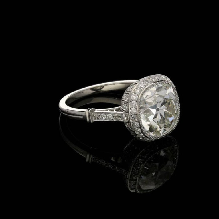Contemporary Hancocks 4.51 Carat Old Mine Brilliant Cut Diamond and Platinum Ring For Sale