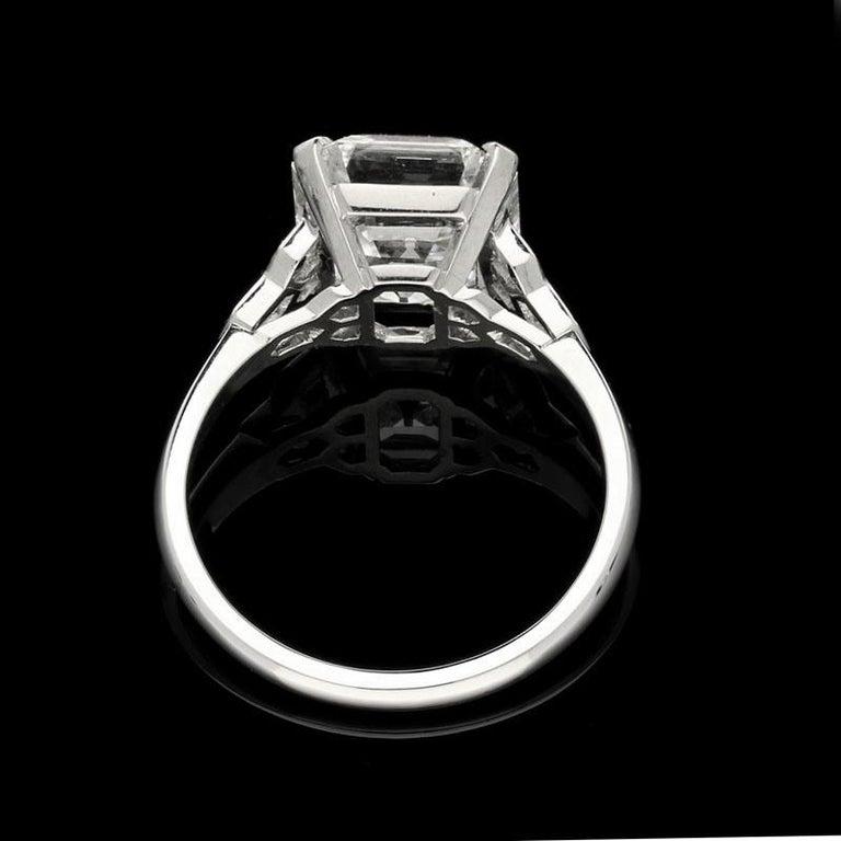 Hancocks 4.58 Carat G VS Asscher Cut Diamond & Honeycomb Diamond-Set in Platinum In New Condition For Sale In London, GB