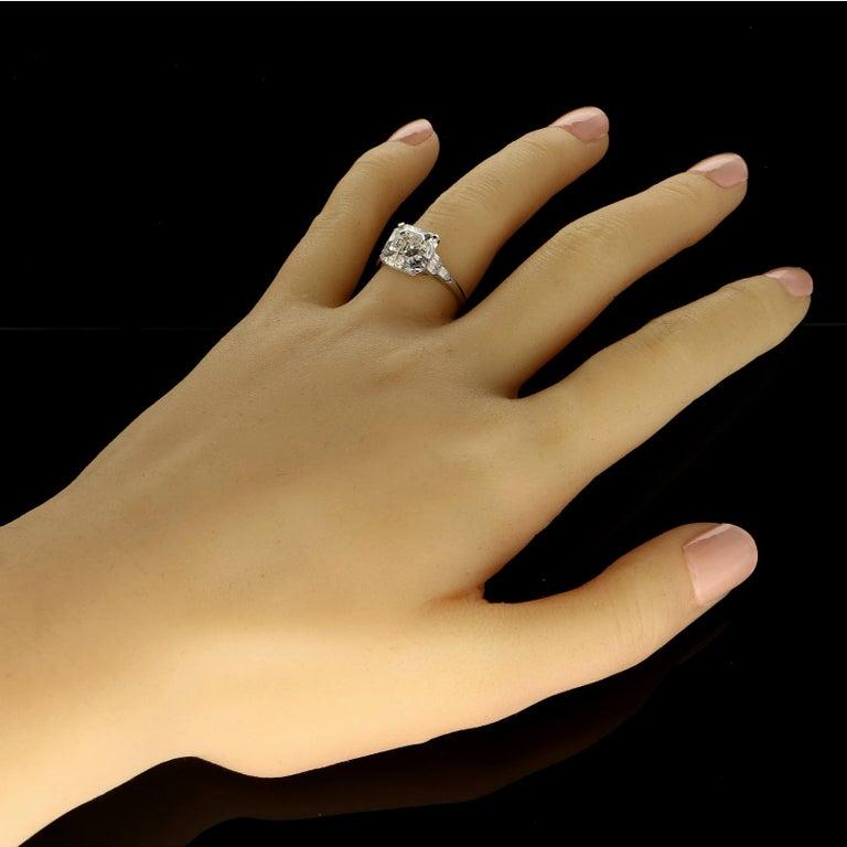 Women's Hancocks 4.58 Carat G VS Asscher Cut Diamond & Honeycomb Diamond-Set in Platinum For Sale