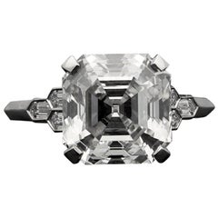 Hancocks 4.58 Carat G VS Asscher Cut Diamond & Honeycomb Diamond-Set in Platinum
