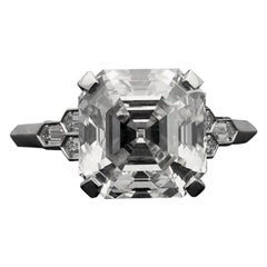 Hancocks 4.58 Carat Asscher Cut Diamond with Honeycomb Diamond-Set in Platinum