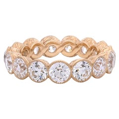 Hancocks 4.90 Carat Old European Cut Diamond Full Set Eternity Rose Gold Ring