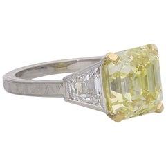 Hancocks 4.97 Carat Fancy Intense Yellow Assher-Cut Diamond Ring