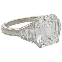 Hancocks 5.01 Carat Vintage Emerald-Cut Diamond Platinum Ring