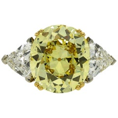 Hancocks 5.13 Carat Fancy Intense Yellow Cushion Shaped Diamond Ring