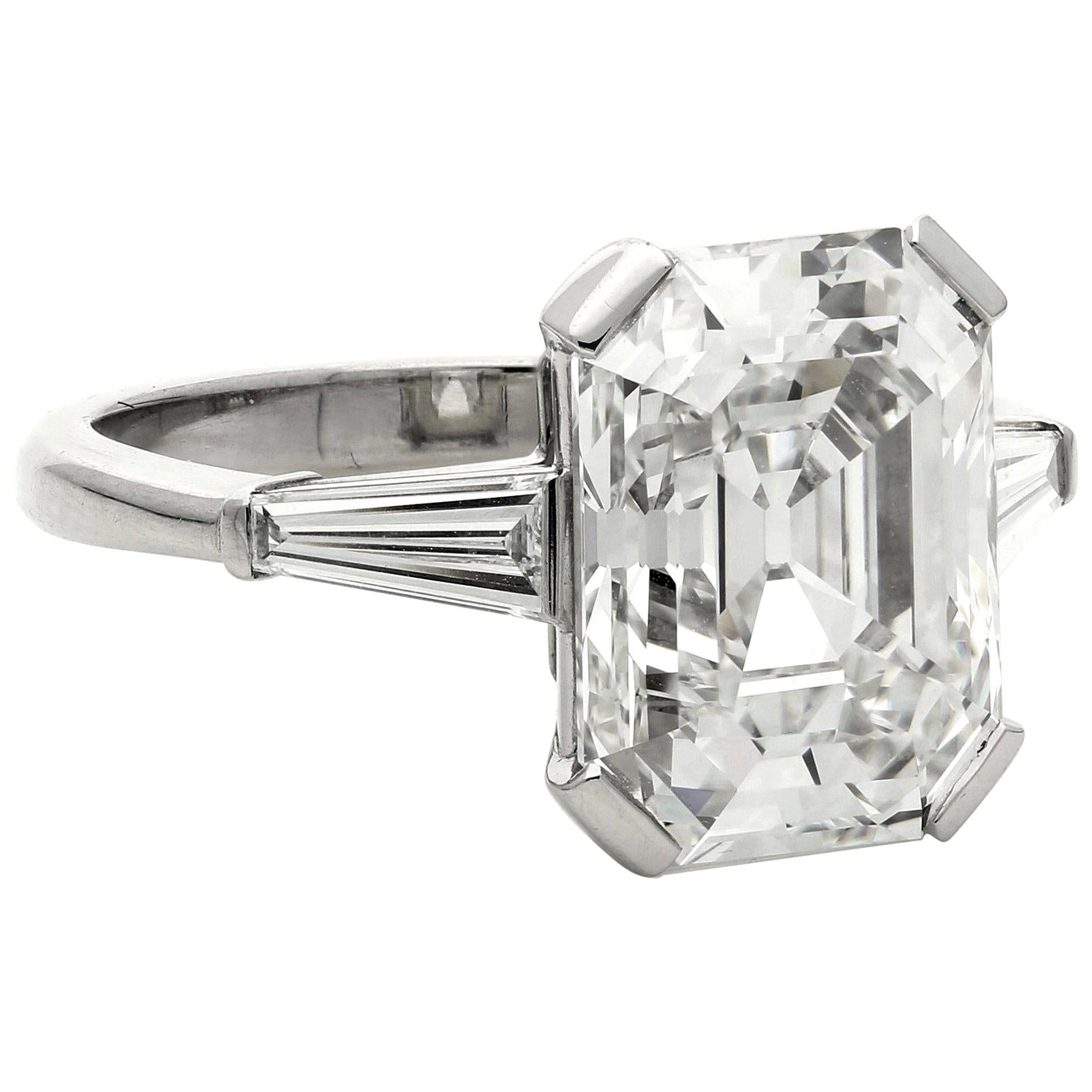 Hancocks 5.19 Carat G VVS2 Vintage Emerald-Cut Diamond Platinum Ring
