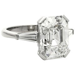 Hancocks 5.19 Carat G VVS2 Vintage Emerald-Cut Diamond Platinum Ring