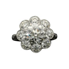 Hancocks 5.54 Carat Old European Brilliant Cut Diamond Cluster Ring