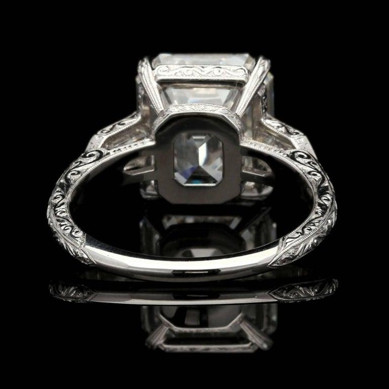 Women's Hancocks 6.24 Carat Emerald Cut Diamond Ring with Bullet Diamond Shoulders
