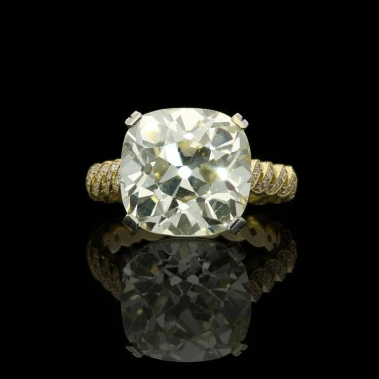 7.90 Carat Q-R VS1 Old mine cushion cut diamond with GIA certificate Single cut diamonds weighing 0.60 Carats total 18 Carat gold and platinum with maker's mark and London assay marks UK finger size M, US size 6.5, can be adjusted to your own finger