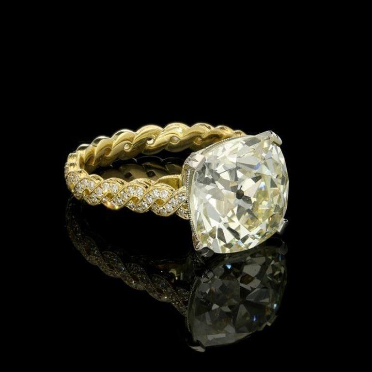 Cushion Cut Hancocks 7.90 Carat Old Mine Brilliant Cut with Twisted Double Row Diamond Ring For Sale