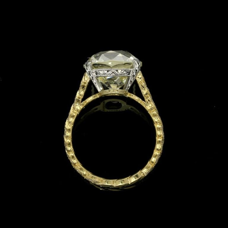 Women's or Men's Hancocks 7.90 Carat Old Mine Brilliant Cut with Twisted Double Row Diamond Ring For Sale