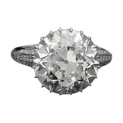 Hancocks 8.07 Carat I VS1 Old European Brilliant Cut Diamond Solitaire Ring