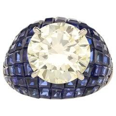 8.24ct Diamond & Invisibly set Sapphire Bombe ring by Oscar Heyman for Hancocks