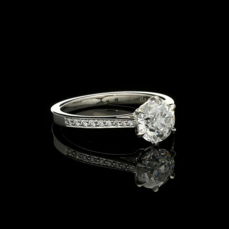 Contemporary Hancocks Beautiful Old European Brilliant Cut Diamond Platinum Ring For Sale