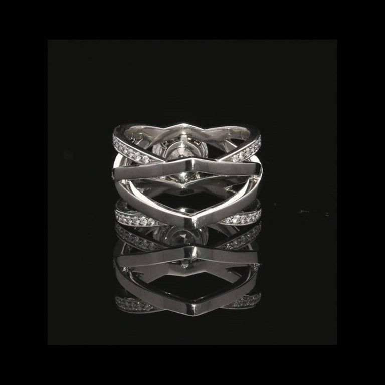 Hancocks Diamond Platinum Openwork Criss Cross Ring In New Condition For Sale In London, GB