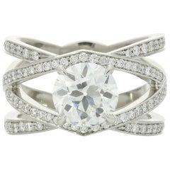 Hancocks Diamant Platin Offener Criss Cross Ring