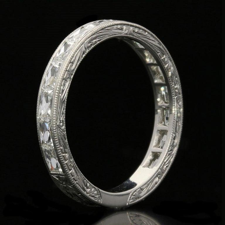 "Women's or Men's Hancocks ""East or West"" French Cut Diamond Platinum Eternity Ring For Sale"