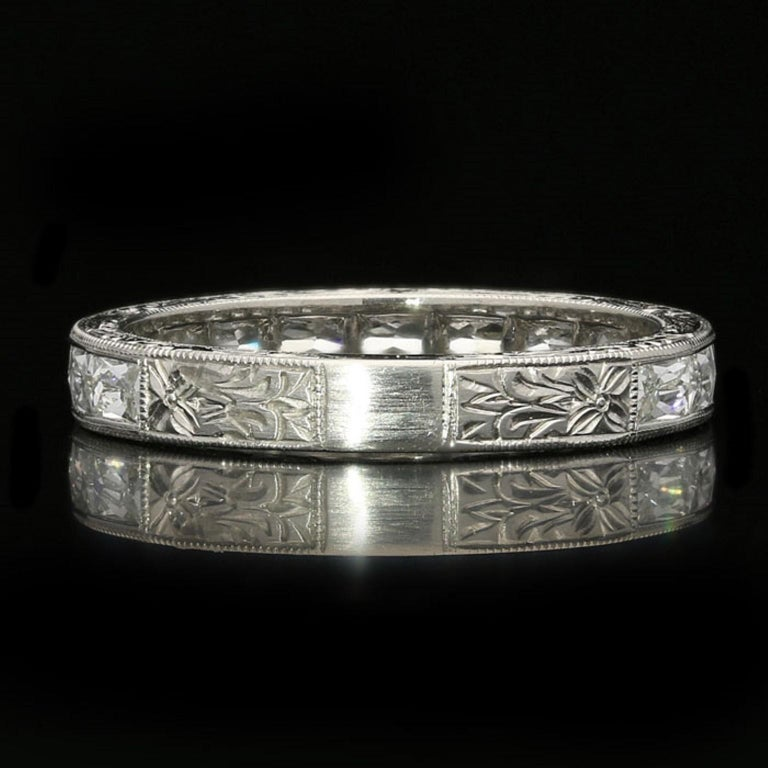 """Hancocks """"East or West"""" French Cut Diamond Platinum Eternity Ring For Sale 2"""