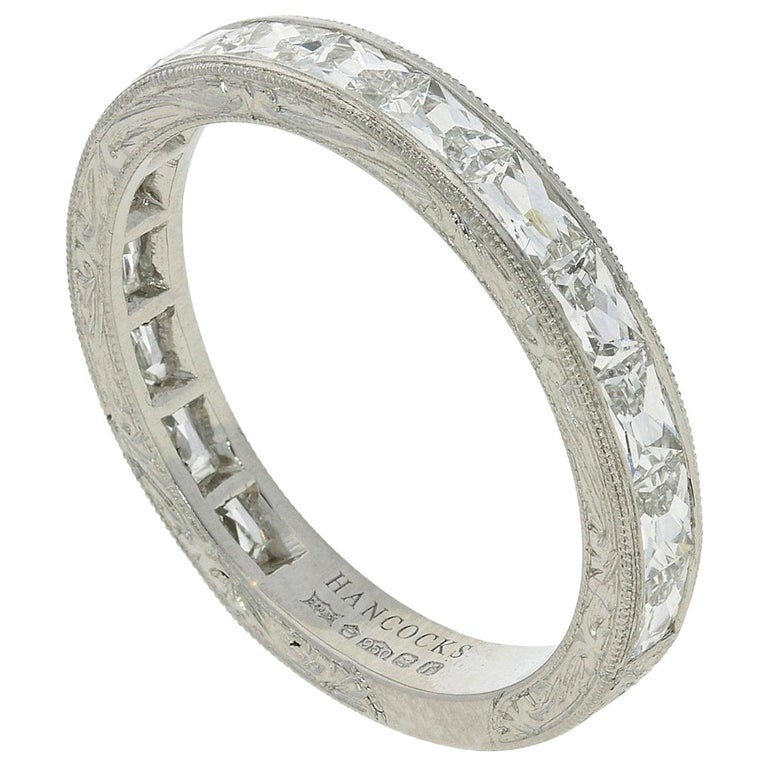 """Hancocks """"East or West"""" French Cut Diamond Platinum Eternity Ring For Sale"""