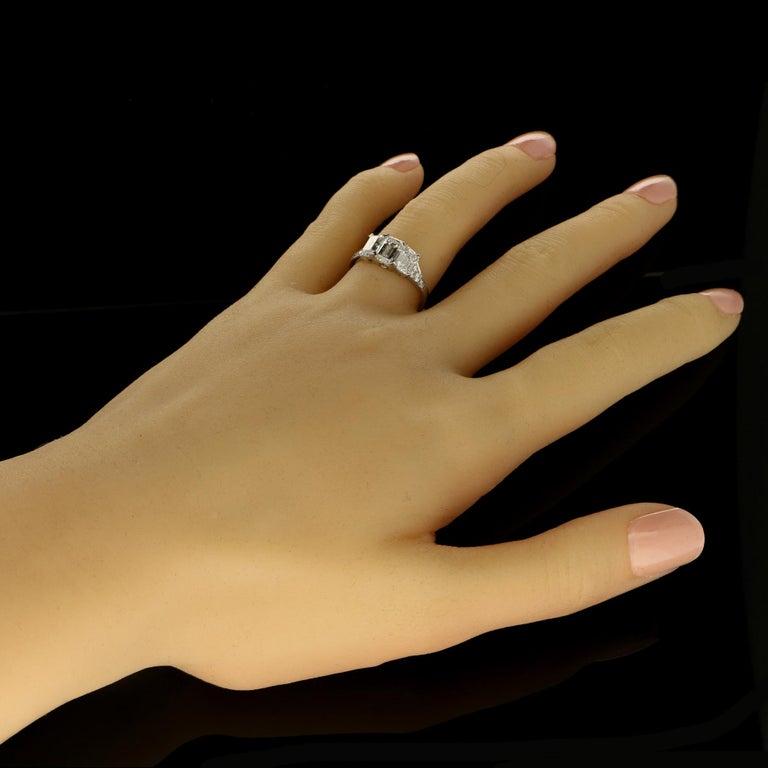 Women's Hancocks Elegant Emerald-Cut Diamond Three-Stone Platinum Ring
