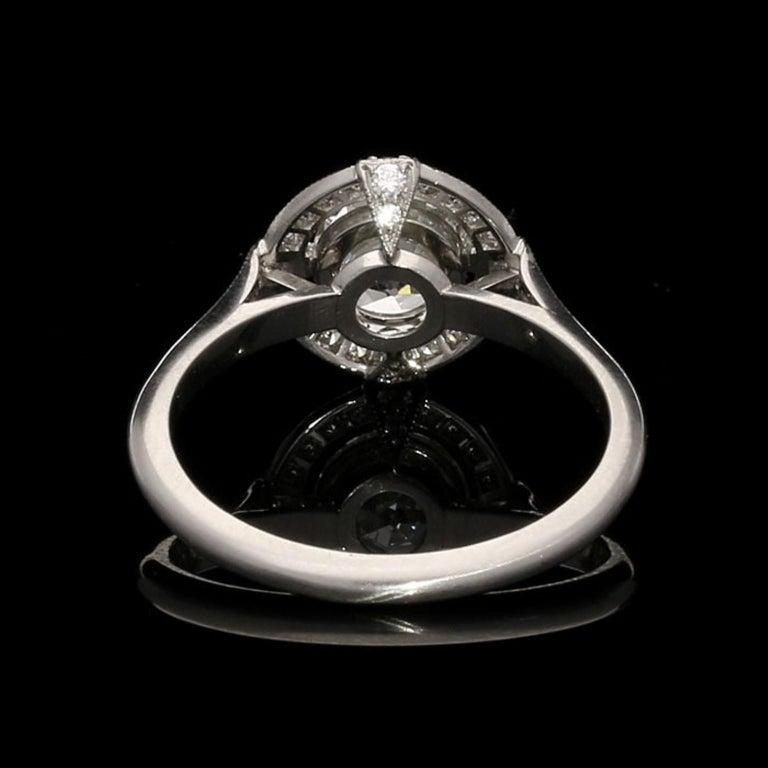 Women's Hancocks GIA Certified 1.15 Carat Old European Cut Diamond Cluster Ring For Sale