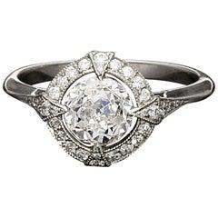 Hancocks GIA Certified 1.15 Carat Old European Cut Diamond Cluster Ring