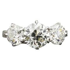 Hancocks Three-Stone 3.64 Carat Old European Cut Diamond Ring