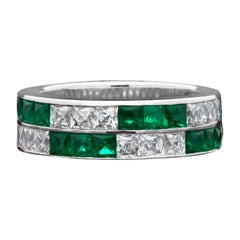 Hancocks Unusual French-Cut Emerald and Diamond 2-Row Eternity or Wedding Ring