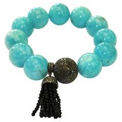 Hand Beaded Amazonite Bracelet with Black Diamond Ball with Onyx Tassel